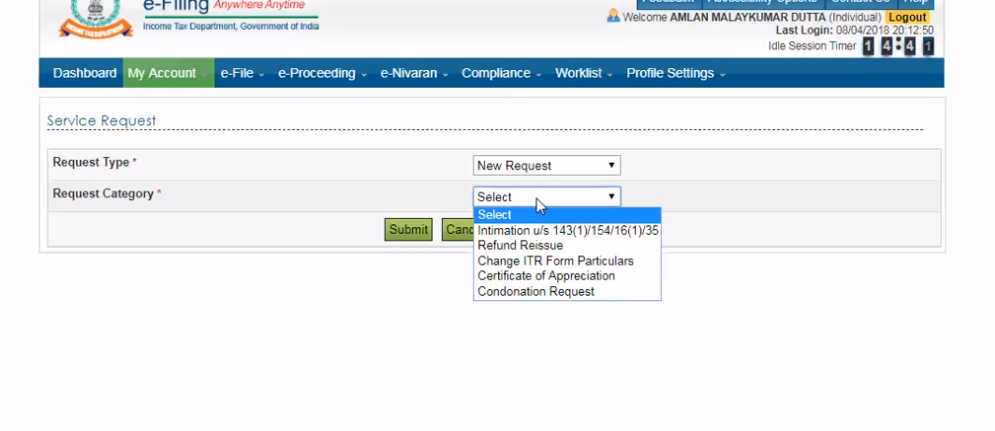Check video tab for video on the subject ......This is available through your online system  under service request - My account - request - New request  - Request for Condonation ....if it displays that there are no records available, then raise a E nivaran request suggesting the same....
